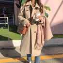 woolen coat Summer of 2019 S M L Black gray white gray white cotton black cotton polyester 91% (including) - 95% (excluding) Medium length Long sleeves commute other routine other Solid color Straight cylinder Korean version MN601 Auruti 18-24 years old Pocket button Solid color polyester fiber