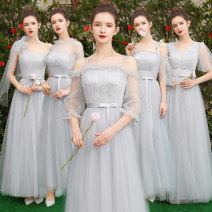 Dress / evening wear Wedding adult party company annual meeting performance XS S M L XL XXL grace longuette middle-waisted Spring of 2019 Fall to the ground One shoulder Bandage 18-25 years old Embroidery Solid color Beautiful fate Polyester 100% Pure e-commerce (online only) Hand embroidery
