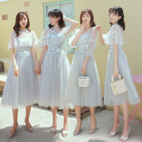 Dress / evening wear Wedding adult party company annual meeting performance XS S M L XL XXL Sweet Medium length middle-waisted Summer of 2019 Skirt hem Deep collar V Bandage 18-25 years old BNF225 Embroidery Solid color Beautiful fate Polyester 100% Pure e-commerce (online only) Hand embroidery