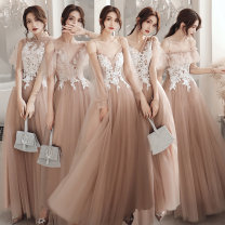 Dress / evening wear Weddings, adulthood parties, company annual meetings, daily appointments XS S M L XL XXL Korean version longuette Elastic waist Autumn of 2019 Fall to the ground U-neck Bandage 18-25 years old QLY-9903 Embroidery Broken flowers Beautiful fate Polyester 90% other 10%