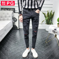 Jeans Youth fashion P. G / floating port Thirty-four black routine Micro bomb Regular denim TN180121 Cotton 98% polyurethane elastic fiber (spandex) 2%