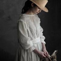 Dress Autumn 2020 White, black 100% LINEN single size singleton  Long sleeves More than 95% hemp