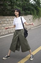 Casual pants Natural waist Cropped Trousers Summer 2020 routine Versatile One size fits all Army green, khaki, black, army green thickened, khaki thickened, black thickened