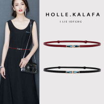 Belt / belt / chain top layer leather Red and black female belt Versatile Single loop Middle aged youth a hook Geometric pattern Glossy surface 1cm alloy alone Caraffa  KLF-0255 Summer 2020 no