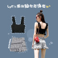 Split swimsuit lyric black Skirt split swimsuit With chest pad without steel support Nylon spandex polyester Winter 2020 female square neck Sleeveless