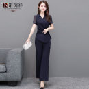 Middle aged and old women's wear Summer 2021 blue M L XL XXL XXXL 4xl fashion suit easy Two piece set Solid color 40-49 years old Socket moderate routine routine Nuo Yinxiang belt other Other 100% 96% and above
