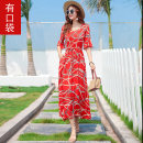 Dress Spring 2020 M L XL 2XL longuette singleton  elbow sleeve Sweet V-neck High waist Decor Socket Big swing pagoda sleeve Others 25-29 years old Type A Runyi family Pocket lace up print More than 95% other New polyester 95% other 5% Bohemia Pure e-commerce (online only)