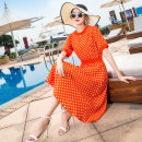 Dress Summer of 2019 Black orange M L XL XXL Middle-skirt singleton  Short sleeve commute Crew neck middle-waisted Dot Socket other other Others 25-29 years old Runyi family Simplicity More than 95% brocade other Other 100%