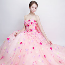 Dress / evening wear Wedding adult party company annual meeting performance Customized s ml XL XXL Pink 63 Korean version longuette middle-waisted Summer 2017 Fluffy skirt Chest type Bandage 18-25 years old 2017-63 Sleeveless flower Decor You Dian Yi Si other Polyester 100% other Non handmade flower