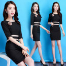 Dress Summer 2017 Dress S M L XL XXL XXXL Middle-skirt singleton  elbow sleeve commute Crew neck middle-waisted Solid color Socket A-line skirt routine Others 25-29 years old Qinhe love Ol style Pocket zipper ZDX_ Q091 91% (inclusive) - 95% (inclusive) knitting polyester fiber
