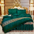 Bedding Set / four piece set / multi piece set Others Embroidered quilting Solid color high-density Xuanyu Others 4 pieces other Royal Blue bean paste peacock green Beige camel pink purple red rose red Bed skirt Qualified products European style other Reactive Print  Thermal storage