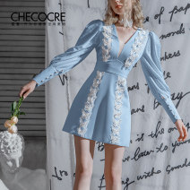 Dress Winter 2020 blue 4 6 8 10 Short skirt singleton  Long sleeves commute V-neck High waist Solid color zipper A-line skirt puff sleeve Others 25-29 years old Type A Stubble guest lady Three dimensional decorative gauze with embroidery stitching CM380381 More than 95% polyester fiber