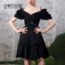 Dress Summer 2021 black 6 8 10 Short skirt singleton  Short sleeve commute V-neck High waist Solid color zipper A-line skirt puff sleeve camisole 25-29 years old Type A Stubble guest Retro Cut out pleated lace CM20687 More than 95% polyester fiber Other polyester 95% 5% Pure e-commerce (online only)