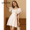 Dress Summer 2020 white 4 6 8 10 Short skirt singleton  Short sleeve commute square neck High waist Solid color zipper A-line skirt Lotus leaf sleeve Others 25-29 years old Type A Stubble guest Retro Ruffle fold CM490009 More than 95% polyester fiber Other polyester 95% 5%