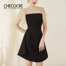 Dress Summer 2020 black 4 6 8 10 Short skirt singleton  Short sleeve commute Crew neck High waist Solid color zipper A-line skirt Flying sleeve Others 25-29 years old Type A Stubble guest lady Stitching bead gauze CM19869 More than 95% polyester fiber Other polyester 95% 5%