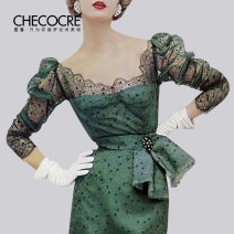 Dress Spring 2021 green 4 6 8 10 Mid length dress singleton  Long sleeves commute other High waist Solid color zipper One pace skirt puff sleeve Others 25-29 years old Type X Stubble guest Retro Three dimensional decorative lace CM380387 More than 95% polyester fiber Other polyester 95% 5%