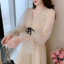 Dress Spring 2021 Picture color S M L XL longuette singleton  Long sleeves commute V-neck High waist Dot Socket A-line skirt routine 25-29 years old Type A Yiqing Dai Korean version Splicing More than 95% Chiffon other Other 100% Pure e-commerce (online only)