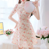 Dress Summer 2021 Pink Green S M L Mid length dress singleton  Short sleeve commute Crew neck High waist Decor Socket A-line skirt routine 25-29 years old Type A Yiqing Dai Korean version printing More than 95% Chiffon other Other 100% Pure e-commerce (online only)