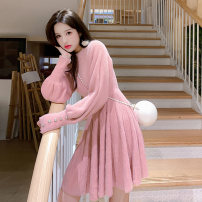 Dress Winter 2020 White pink M L XL Mid length dress singleton  Long sleeves commute Crew neck High waist Solid color Socket A-line skirt routine Others 18-24 years old Type A Yiqing Dai Korean version Button QUYF12072 More than 95% knitting other Other 100% Pure e-commerce (online only)