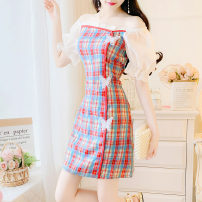 Dress Summer 2020 Green red S M L Short skirt singleton  Short sleeve commute One word collar High waist lattice Socket A-line skirt bishop sleeve 18-24 years old Type A Yiqing Dai Splicing DUUX83555 More than 95% other Other 100% Pure e-commerce (online only)