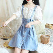 Fashion suit Summer of 2019 S M L Single shot jacket single shot denim skirt picture color suit 18-25 years old Yiqing Dai Other 100% Pure e-commerce (online only)