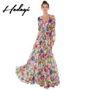 Dress Autumn of 2019 Floral print yellow print black print S M L XL XXL XS longuette singleton  Long sleeves Sweet V-neck High waist Decor other Princess Dress bishop sleeve Breast wrapping 18-24 years old Type A hodoyi Bowknot pleated lace up printing FBA15151B058 More than 95% polyester fiber