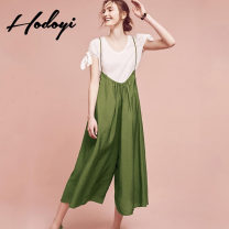 Casual pants Army Green Black S M L XL XXL Summer 2017 Cropped Trousers Wide leg pants High waist Sweet 18-24 years old CA58Q30174 hodoyi Polyester 100% Pure e-commerce (online only) Ruili