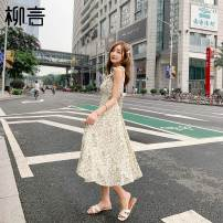 Dress Summer 2021 Light green S M longuette singleton  Sleeveless commute square neck High waist Decor Socket A-line skirt other camisole 25-29 years old Type A Liu Yan Korean version Lotus leaf edge More than 95% polyester fiber Polyester 100% Pure e-commerce (online only)