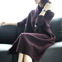 Dress Autumn 2020 Purplish red and dark green S M L XL XXL Mid length dress singleton  Long sleeves commute High collar Loose waist Solid color Socket A-line skirt routine Others 30-34 years old Type A Edgoff Retro Color fixing with stitching resin A19Q5375SS More than 95% other