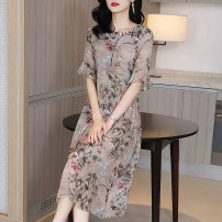 Dress Autumn 2020 Decor S M L XL XXL XXXL Mid length dress singleton  elbow sleeve commute Crew neck Loose waist Solid color Socket A-line skirt pagoda sleeve Others 35-39 years old Type A Edgoff Retro Three dimensional decorative resin fixation printing with ruffle stitching A20X6866AGF silk