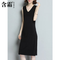 Dress Summer 2021 Black and white S M L XL XXL XXXL Mid length dress singleton  Sleeveless commute V-neck middle-waisted Solid color Socket A-line skirt routine camisole 25-29 years old Frosty Splicing HS2310-4 More than 95% other Other 100%