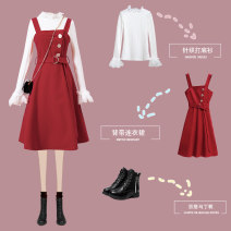 Dress Winter of 2019 Red dress black dress red dress + sweater black dress + sweater S M L XL 2XL Mid length dress singleton  Sleeveless commute One word collar High waist Solid color zipper A-line skirt routine camisole 25-29 years old Type A The shadow of the beginning Korean version Button L667