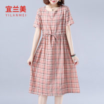 Dress Summer 2020 Pink yellow M L XL 2XL Mid length dress singleton  commute Crew neck Loose waist Socket routine 30-34 years old Yilanmei literature More than 95% other Other 100% Pure e-commerce (online only)