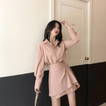 Dress Autumn 2020 Pink suit white suit S M L XL Short skirt Two piece set Long sleeves commute Polo collar High waist stripe Single breasted A-line skirt shirt sleeve Others 18-24 years old Type A Century girl Korean version More than 95% other Other 100% Pure e-commerce (online only)
