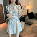 Dress Summer 2021 White striped dress blue striped dress S M L XL Short skirt singleton  Short sleeve commute tailored collar High waist stripe Socket other shirt sleeve Others 18-24 years old Type A Century girl Korean version More than 95% other Other 100% Pure e-commerce (online only)