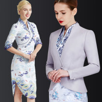 Professional dress suit S [spot to order] m [spot to order] l [spot to order] XL [spot to order] XXL [spot to order] XXL [spot to order] Spring of 2018 three quarter sleeve GA07002 Coat other styles A-line skirt 18-25 years old TDET Polyethylene terephthalate (polyester) 100% 96% and above