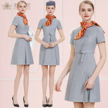 Professional dress suit S [make to order] m [make to order] l [make to order] XL [make to order] XXL [make to order] 3XL [make to order] 4XL [make to order] Light grey Navy Red Spring of 2018 Short sleeve Other styles A-line skirt 18-25 years old TDET Polyester 80% other 20%