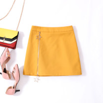 skirt Spring of 2019 S M L XL Black Yellow Lake Blue Short skirt commute High waist Solid color 18-24 years old MK0180 81% (inclusive) - 90% (inclusive) MC mecover / micafur Lycra Lycra Simplicity Polyurethane elastic fiber (spandex) 87% viscose fiber (viscose) 13% Pure e-commerce (online only)