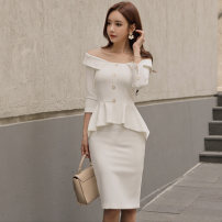 Dress Autumn of 2019 White (pre sold for 25 days) S M L Middle-skirt Fake two pieces Nine point sleeve commute One word collar High waist Solid color zipper One pace skirt other 25-29 years old Scarlett Ruffle button LY1087 81% (inclusive) - 90% (inclusive) polyester fiber