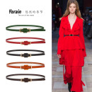 Belt / belt / chain top layer leather Camel rose red red green sapphire blue coffee black female belt leisure time Single loop Young and middle aged Smooth button Geometric pattern Glossy surface 1.3cm alloy Naked candy color Leisurely season Y522# 106cm Summer 2016