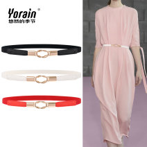 Belt / belt / chain Pu (artificial leather) female Waistband Simplicity Single loop Young and middle aged a hook Geometric pattern Glossy surface alloy Bare elastic Leisurely season D086 Winter of 2019
