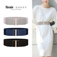 Belt / belt / chain Pu (artificial leather) Khaki - gold button 6cm 6cm gray off white - gold button 6cm red - gold button 6cm 6cm Navy Blue 6cm coffee 6cm black 7.5cm Navy Blue 7.5cm red 7.5cm black female Waistband Simplicity Single loop Young and middle aged a hook Geometric pattern Glossy surface