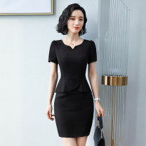 Dress Summer of 2019 S M L XL XXL 3XL 4XL Mid length dress Short sleeve commute V-neck Solid color zipper One pace skirt routine 25-29 years old Lady 38 Korean version Lotus leaf edge SBFR-08080808 30% and below Lycra Lycra New polyester fiber 93.2% polyurethane elastic fiber (spandex) 6.8%