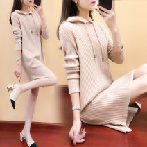 Dress Winter 2017 Camel Dark Khaki Brown Black S M L XL Mid length dress singleton  Long sleeves commute Hood Loose waist Solid color Socket other routine Others 25-29 years old Type H Beautiful decoration Korean version Lace up stitching JS12265139 More than 95% knitting other Other 100%