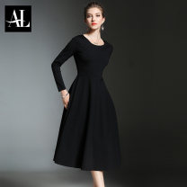 Dress Spring 2021 S M L XL XXL 3XL Mid length dress singleton  Long sleeves commute Crew neck High waist Solid color zipper A-line skirt routine Others 25-29 years old Type A Aoliang zipper 51% (inclusive) - 70% (inclusive) other nylon Pure e-commerce (online only)