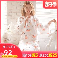Home skirt Dream honey Small fox pure cotton gauze is breathable and sweat absorbing. It is easy to sweat in confinement. It is recommended to keep 2 - 3 pieces M weight 100 - 120 kg L, weight 120 kg - 140 kg XL weight 140 kg - 160 Jin three quarter sleeve summer V-neck Thin money lovely cotton