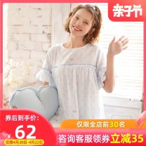 Home skirt Dream honey Qinghai wave (large Maternity Skirt, no breast feeding mouth) pure cotton gauze is breathable and sweat absorbing M L XL Short sleeve summer Crew neck Thin money lovely Cartoon animation cotton pure cotton