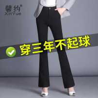 Casual pants black M L XL 2XL 3XL Spring 2021 trousers Flared trousers High waist commute routine 30-34 years old Xinyue Korean version Button Viscose fiber (viscose fiber) 68% polyamide fiber (nylon fiber) 27% polyurethane elastic fiber (spandex) 5%