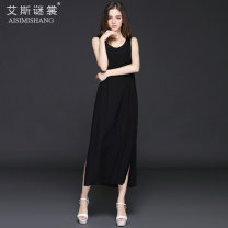 Dress Summer of 2019 black M L XL XXL 3XL Mid length dress singleton  Sleeveless street Crew neck low-waisted Solid color Socket A-line skirt other straps 30-34 years old Type A The mystery of Aishang More than 95% silk Mulberry silk 100% Pure e-commerce (online only) Europe and America