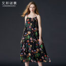 Dress Summer 2020 printing M L XL 2XL 3XL 4XL Mid length dress singleton  Sleeveless street Crew neck middle-waisted Broken flowers Socket A-line skirt routine camisole 35-39 years old The mystery of Aishang J16469 More than 95% silk Mulberry silk 100% Pure e-commerce (online only) Europe and America